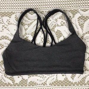 Lululemon grey athletic bra with decorative back